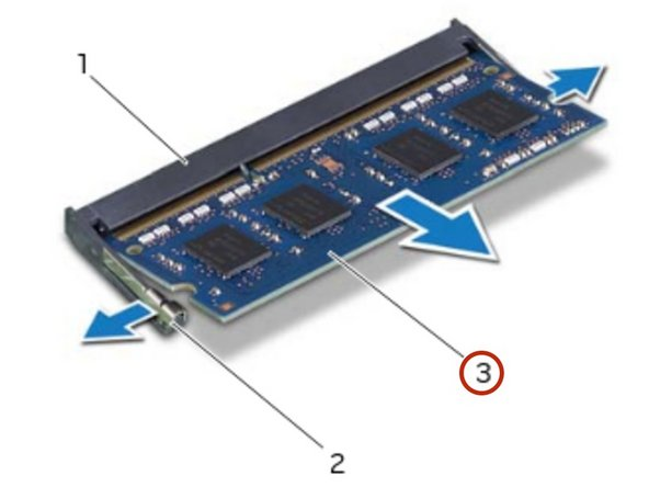 Using your fingertips, spread apart the  securing clips on each end of the memory-module connector until the memory module pops up.