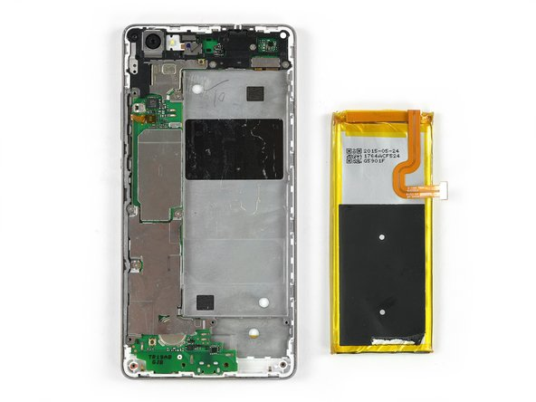When you start to reassemble your phone, you need to remove the big metal plate you screwed back in to protect the motherboard another time, to connect the battery flex cable.