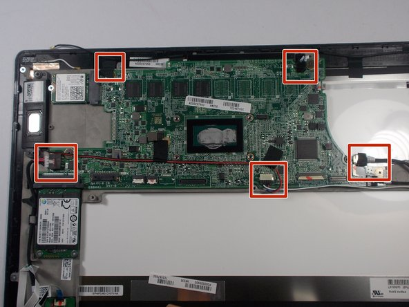 Locate and remove the five connectors using ESD safe tweezers.