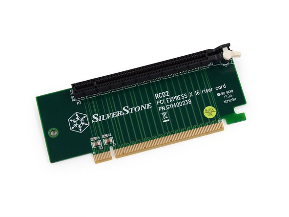 Image 2/2: A SilverStone RC2 PCI Express x16 riser card also falls in our quest toward motherboard glory.
