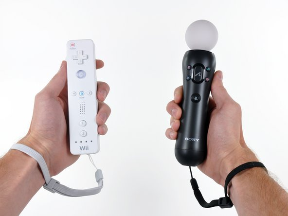 A quick side-by-side comparison of the Wii Remote controller and the Sony PlayStation Move motion controller.