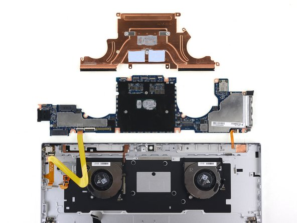The motherboard can be removed after the battery. It requires peeling up the antenna assembly copper tape, disconnecting some connectors, and removing one of those interconnect boards. Replacement would also require removing and transferring the interconnect cables.