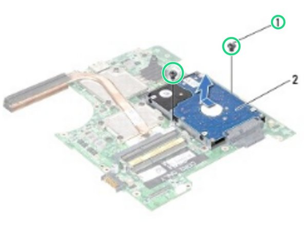 Replace the two screws that secure the hard-drive assembly to the system board.