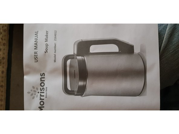 Manufactured by Morphy Richards and sold by Morrisons.... these soup makers are renowned to fail... this is normal due to being overfilled or the soup product not being prepared enough ( veg etc MUST be no larger than 10mm×10mm×10mm ) or it WILL jam the blades.. and if over filled will also force premature failure...