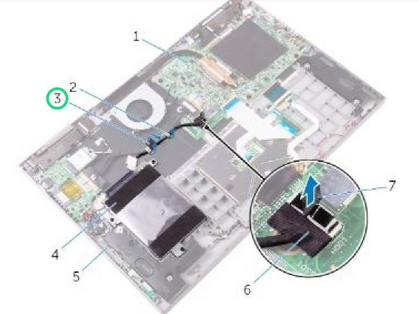 Peel off the tape that secures the hard-drive cable to the palm rest and keyboard assembly.