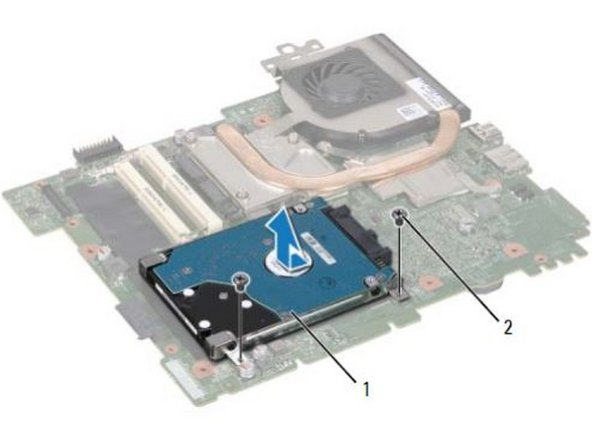 Slide the hard-drive assembly to connect it to the system-board connector.