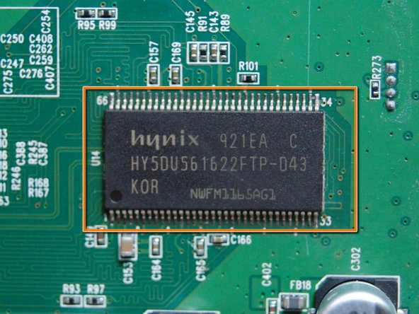 The first chip looks like a flash memory for the ROM, or the random memory for the OS, there are two of them; Labelled 921EA C HY5DU56 1622FTP-043 Made in Korea NWFM136SAG3