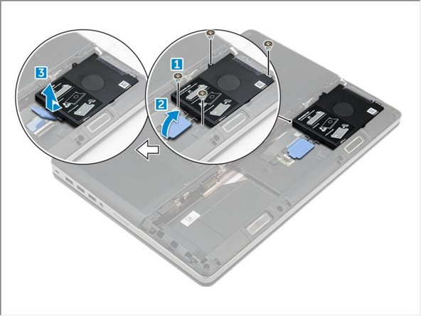 Remove the M3.0x3.0 screws that secure the hard drive to the computer [1].