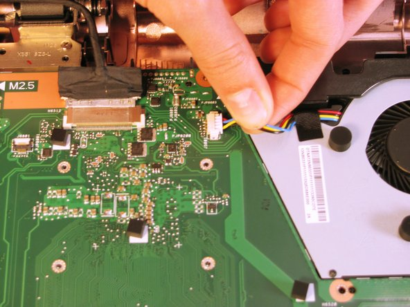 Remove the wires by easily pulling them parallel to the motherboard's surface.