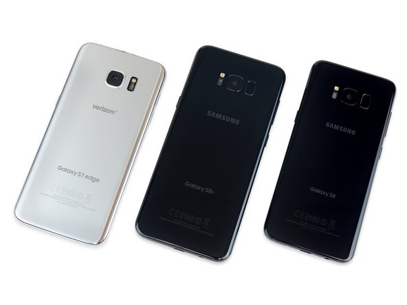 Image 1/2: In the three-fer, we've got the S7 Edge on the left, S8+ in the center, and S8 on the right.