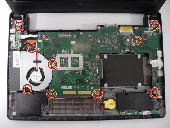 Using a Phillips Head 1 Screwdriver, remove all screws securing the motherboard to the frame of the laptop