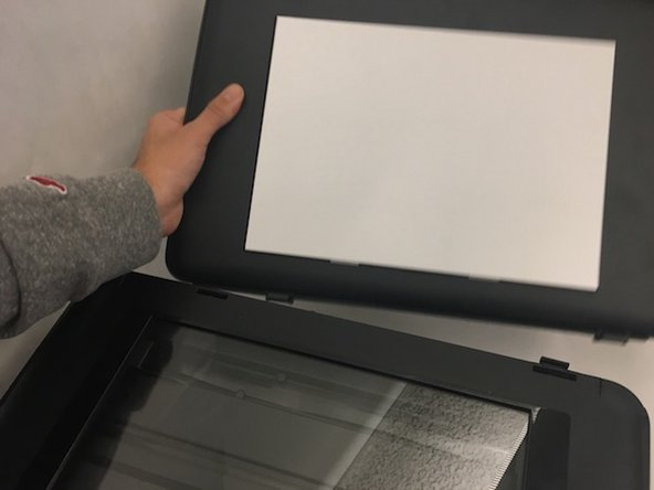 Take the cover off by popping the cover's hinges from the rest of the printer.