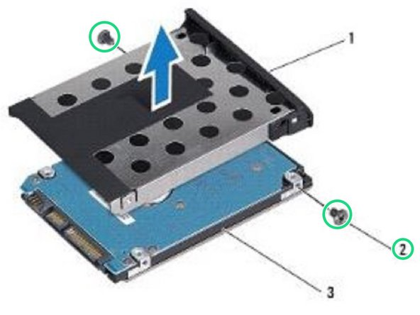 Replace the two screws that secure the hard drive bezel to the hard drive.