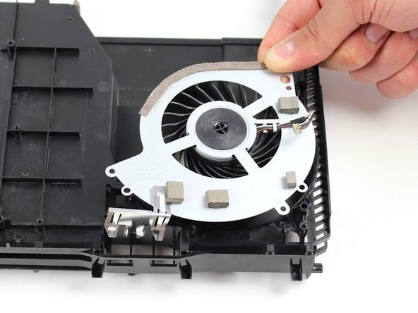 Fans can vary greatly in size and shape, so look for a component with a circular hole that has fan blades inside of it.