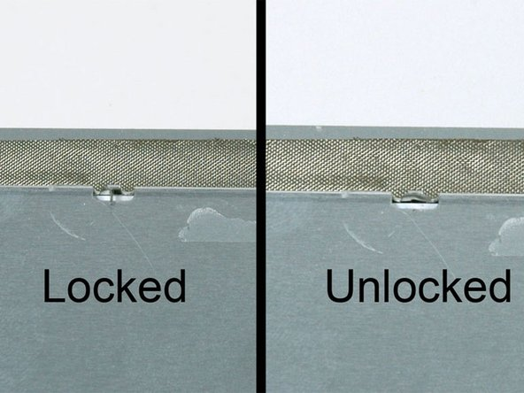 "Image 1/1: The first frame shows a tab in the ""locked"" position and the second frame shows the same tab in the ""unlocked"" position."