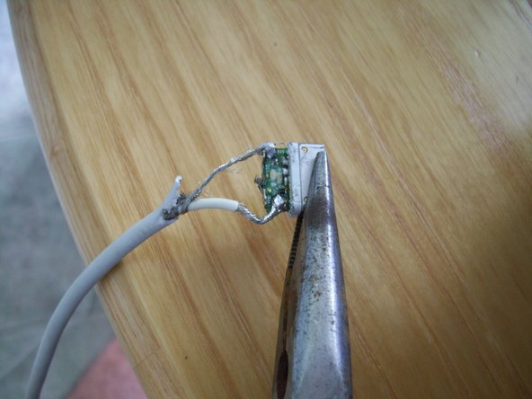 1.) Take the good end of the existing wire and strip it.