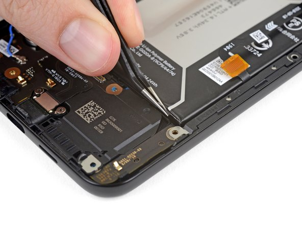 Use tweezers to carefully pull out the right adhesive strip's pull-tab from the bottom right corner of the battery.