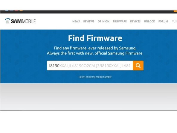 Image 1/3: Search the firmware for your model and find the variant, corresponding to your mobile phone.