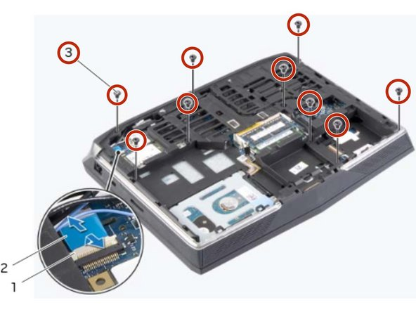 Remove the screws that secure the palm -rest assembly to the computer base.