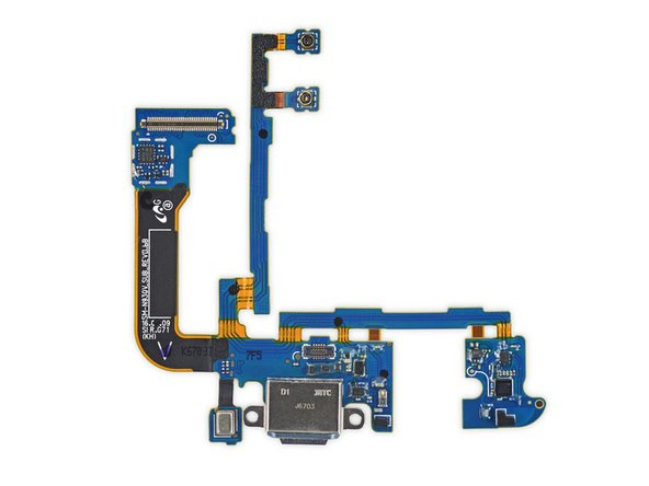 Image 3/3: Out goes the [https://d3nevzfk7ii3be.cloudfront.net/igi/DElnJrR6KZTodyMs|daughterboard array|new_window=true]! Unlike the one found in the [https://www.ifixit.com/Teardown/Samsung+Galaxy+S7+Teardown/56686#s122936|S7|new_window=true ], this board used rigid PCB interconnects. This keeps the spidery cable from being flimsy. No one likes flimsy.
