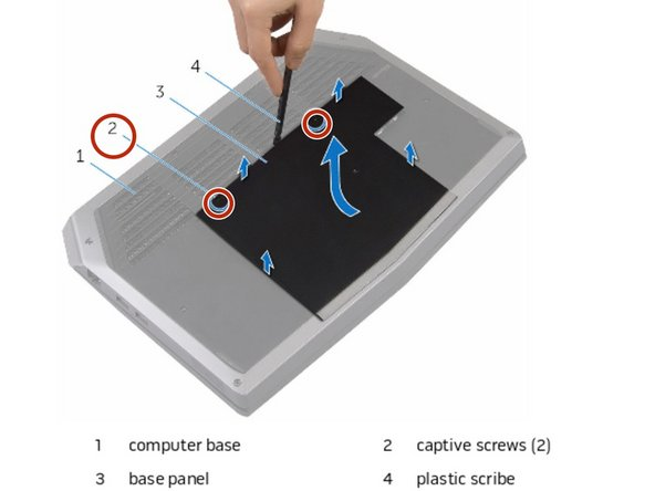 Loosen the captive screws that secure the base panel to the computer  base.