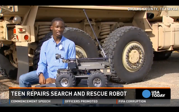 Teen repairs SWAT Robot