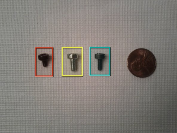 Types of screws that have been removed. This is to help when putting back together everything.