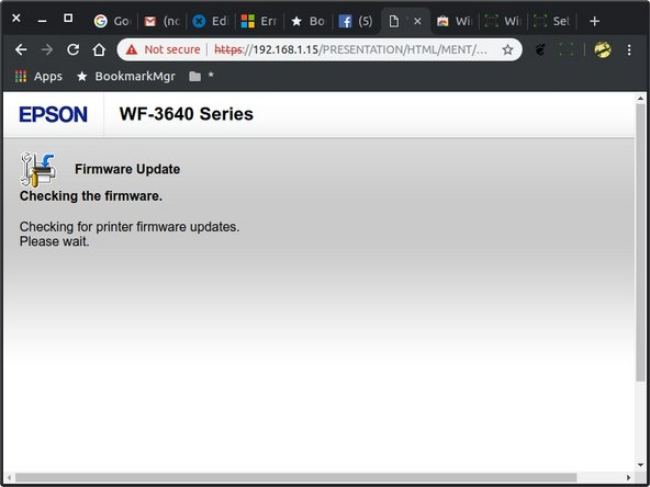 After a few moments you will see this screen as it tests to see if your printer firmware is up to date.