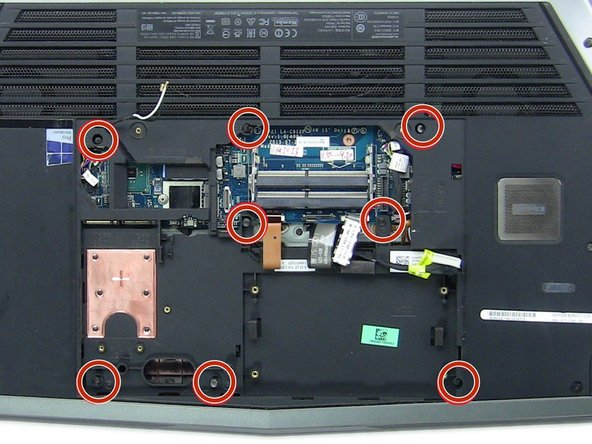 Remove all sixteen of the screws on the underside of the laptop.