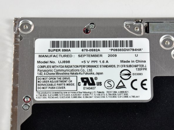No surprises here. The optical drive is an 8x SATA SuperDrive. It's a Panasonic model UJ898, made in China September of 2009.