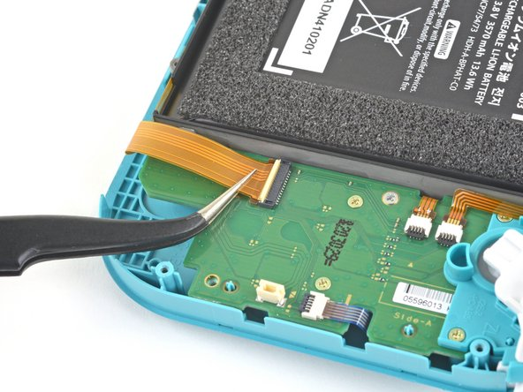 Use a pair of tweezers to slide the motherboard interconnect cable out of its connector on the daughterboard.