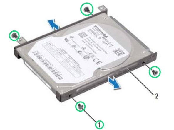 Replace the four screws that secure the hard drive to the hard-drive bracket.