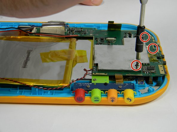 Unscrew the five 4 mm  screws around the perimeter of the motherboard using the ph00 size phillips head screwdriver.