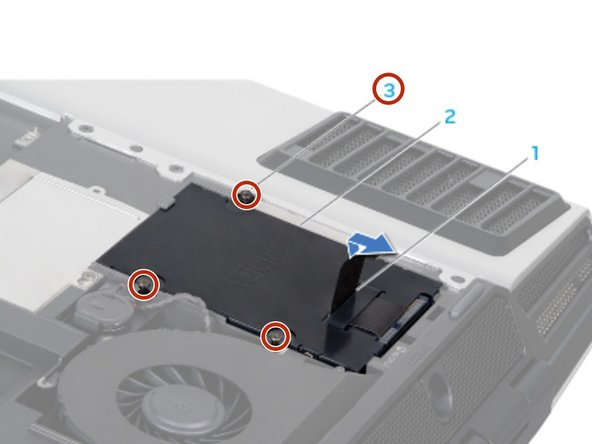 If your computer has a secondary hard drive (HDD1), align and tighten the four captive screws that secure the hard drive to the hard drive bay.