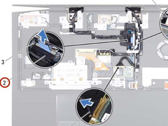 Using the pull-tab, pull the display cable to disconnect the display cable  from the connector on the system board.