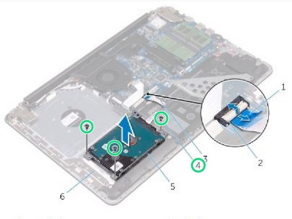 Remove the screws that secure the hard-drive assembly to the palm rest and keyboard assembly.