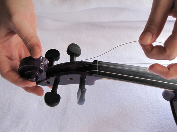 Violins have four string. The strings from left to right go: G, D, A, & E.