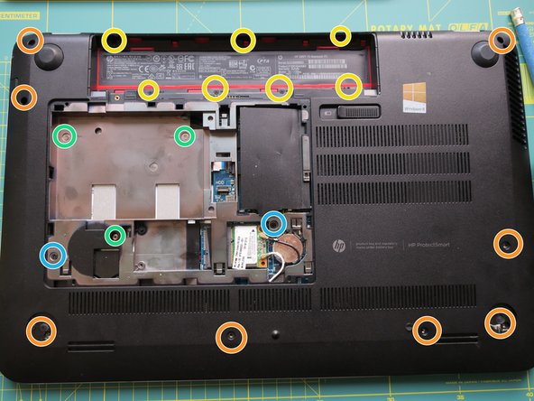 Remove eight screws. The Manual says seven, but in my Laptop there was an additional screw hidden under a sticker on the lower side.