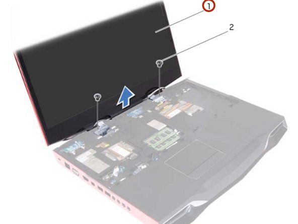 Move the display to a perpendicular position to the computer base, and then lift the display assembly off the computer.