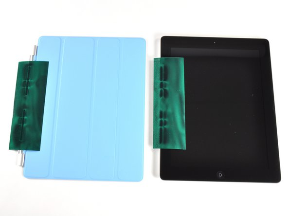 There's also a row of magnets on the left side of both products. The iPad 2's magnets are actually encased into the side of the device, and are used to securely clamp the iPad 2 to the Smart Cover.
