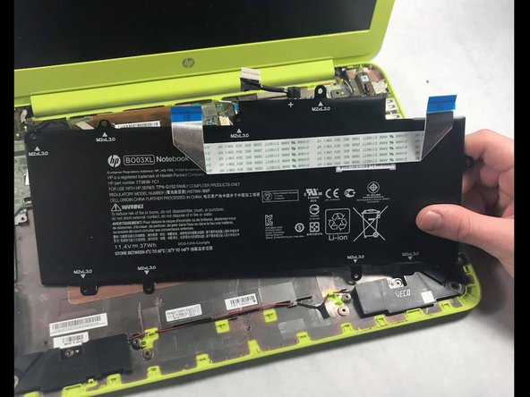 The long, flat, black component that takes up the majority of the space is the battery. Surprise! There are more screws (make sure you keep track of what screws came from where). All you are required to do is unscrew these and then gently remove the battery from the Chromebook.