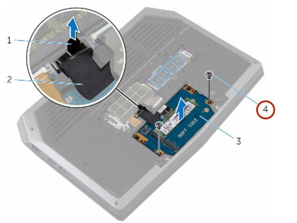 Remove the screw that secures the solid-state drive to the solid-state  drive assembly.
