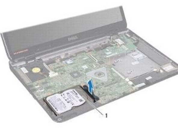 Align the hard-drive assembly with the connector on the system board and press the hard-drive assembly into the hard-drive bay until it is fully seated.