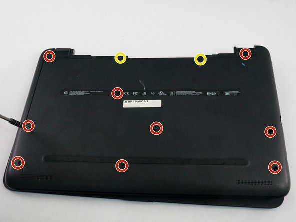 Using the Phillips P0 screwdriver, remove the 9 M2.5mm x 6.5mm screws from the bottom of the laptop.