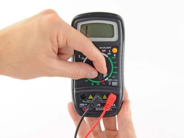 Switch on your multimeter, and set the dial to continuity mode (indicated by an icon that looks like a sound wave).