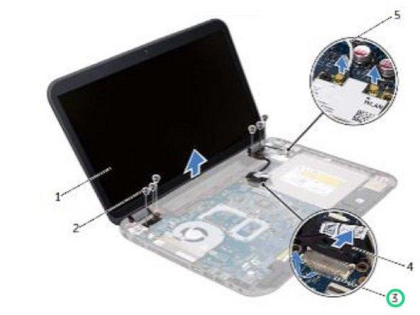 Despegue la cinta que fija el cable de la pantalla a la placa del sistema y luego desconecte el cable de la pantalla del conector de la placa del sistema.