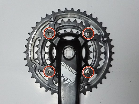 Remove the four 5 mm Hex screws that mount the crank arm to the chainrings.