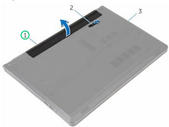 Using your fingertips, lift the battery at an angle and remove the battery off the computer base.
