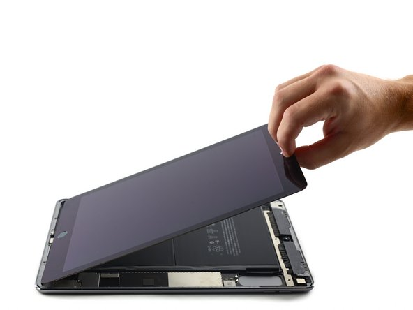 Image 2/3: Keep lifting until the display assembly is roughly perpendicular to the body of the iPad.