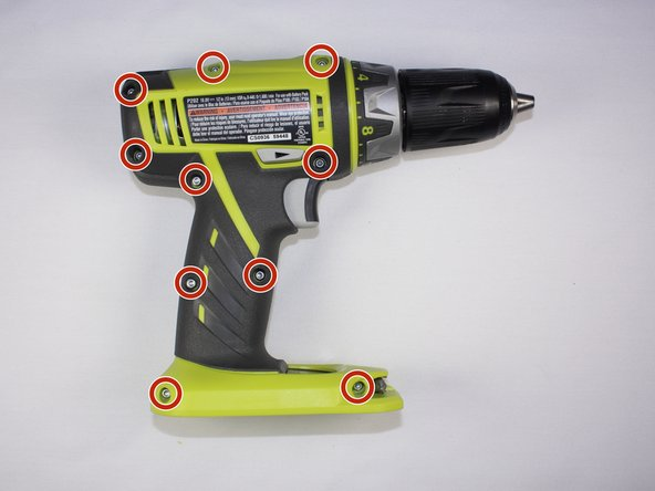 Use a Torx T10 screw driver to unscrew all ten 13.5 mm screws from the drill casing to gain access to the interior.